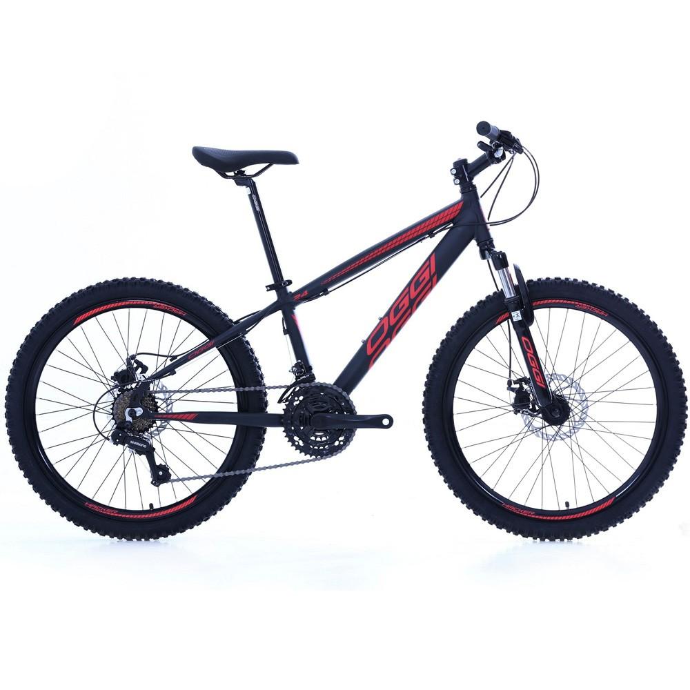 Bicicleta Aro 24 Oggi Hacker 21 Velocidades Tourney Preto/Vermelha