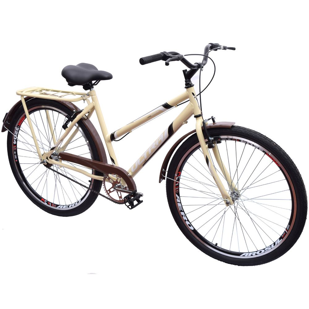 Bicicleta Aro 26 Urbana Poty Wave Bege e Marrom