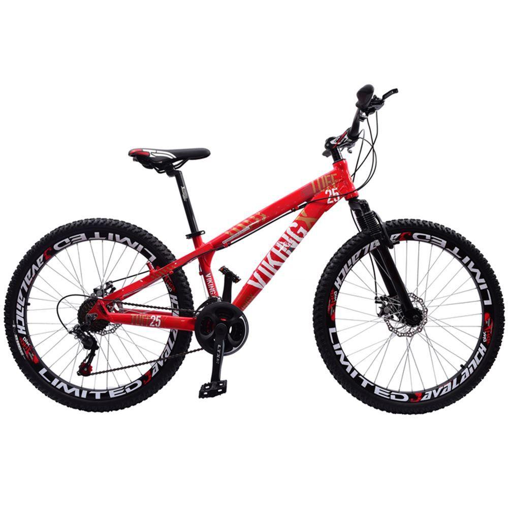 Bicicleta Aro 26 Viking Tuff 21 Marchas Freio Disco Vermelho
