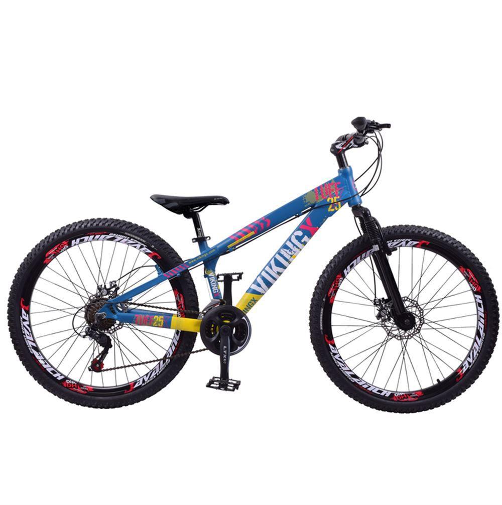 Bicicleta aro 26 Viking Tuff Alumínio 21 Marchas Freio Disco Azul