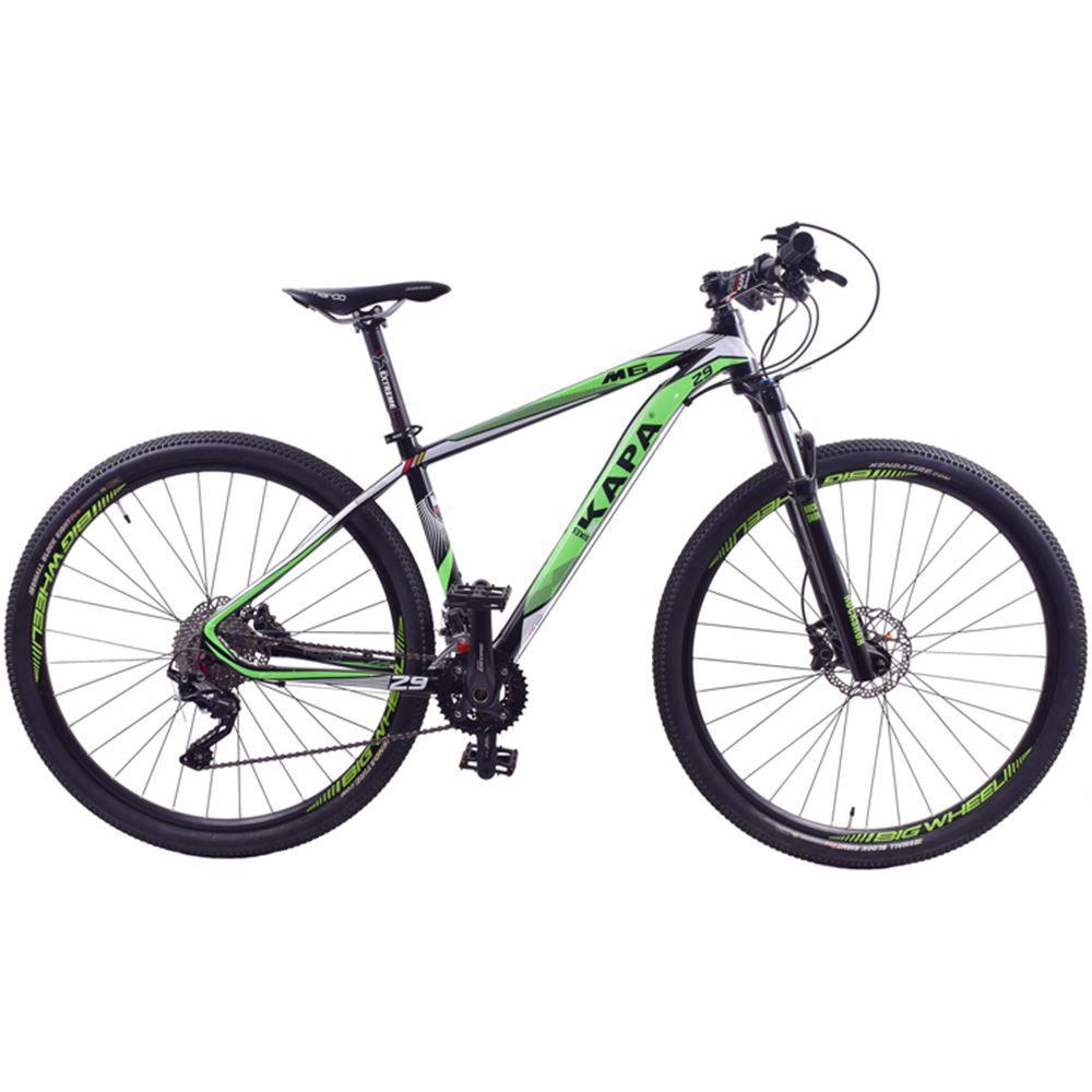 Bicicleta Aro 29 Kapa M6 Shimano Deore 20V Preta e Verde