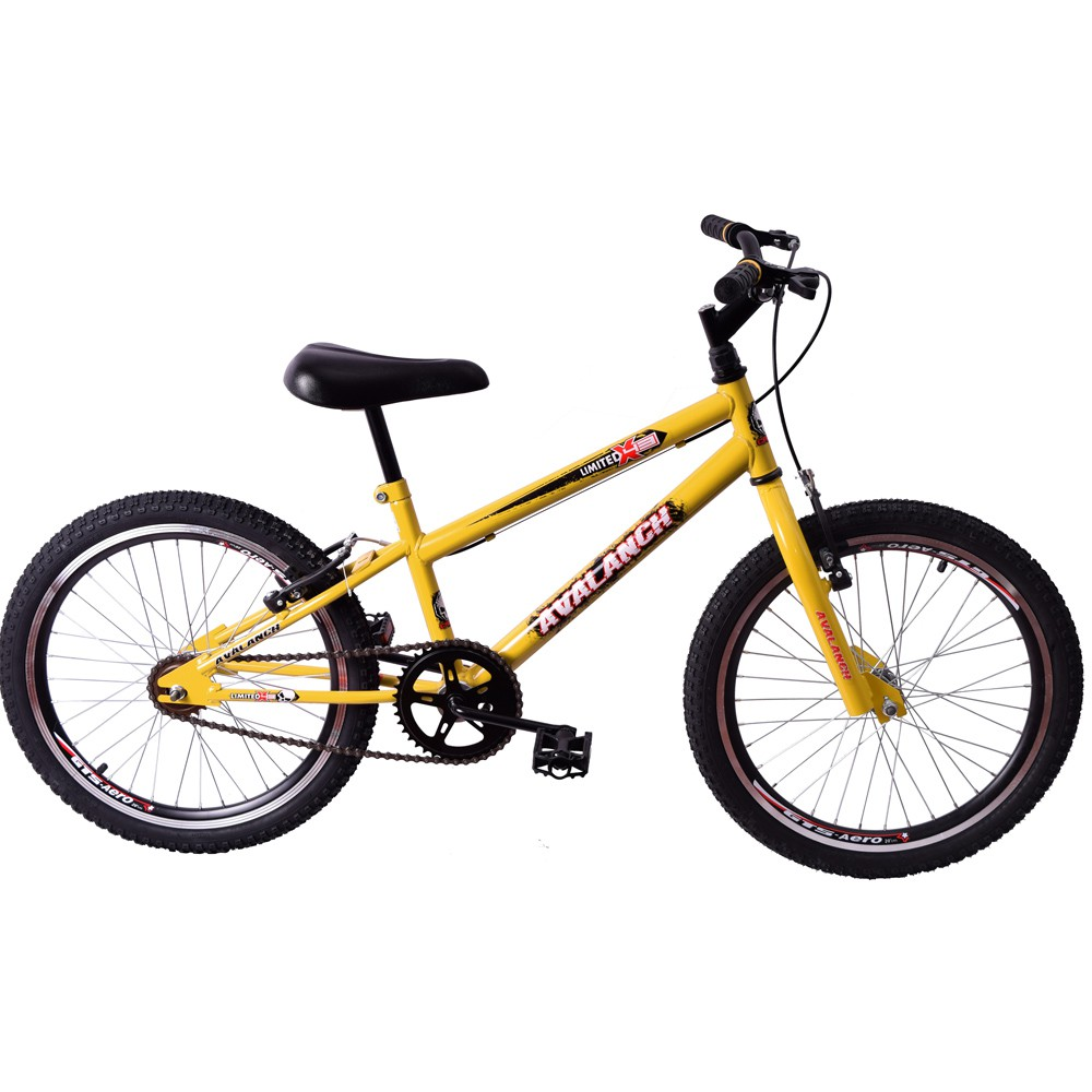 Bicicleta Cross BMX Aro 20 Avalanch Limited Amarelo