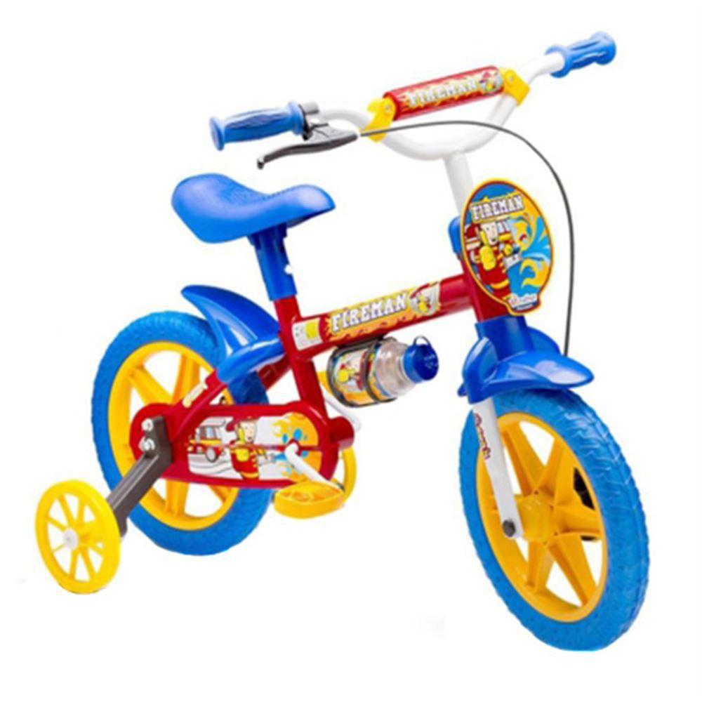 Bicicleta Infantil Aro 12 Nathor Fireman Vermelha E Azul