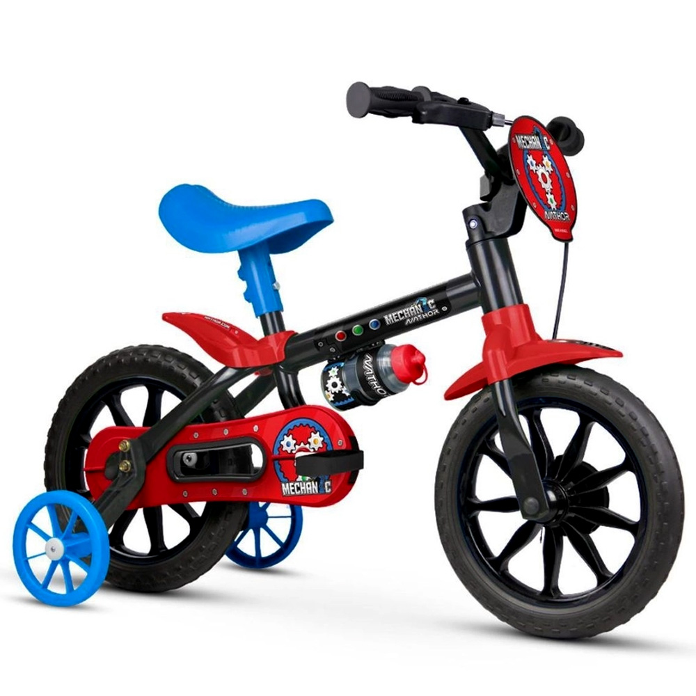 Bicicleta Infantil Aro 12 Nathor Mechanic Rodinhas Preto/Azul/Vermelho