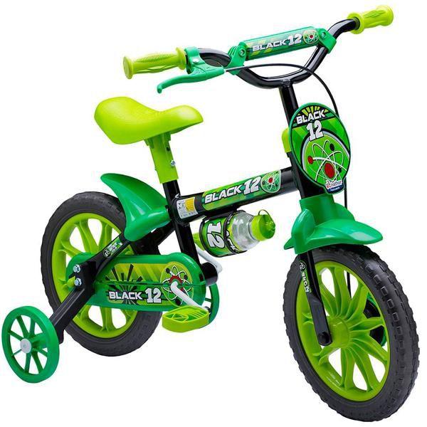 Bicicleta Infantil Aro 12 Nathor Preta e Verde