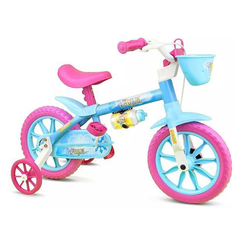 Bicicleta Infantil Aro 12 Nathor Rosa E Azul Com Cesta