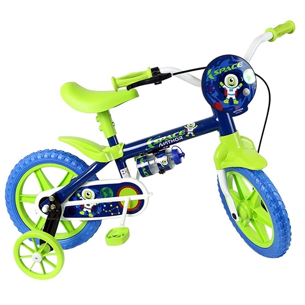 Bicicleta Infantil Aro 12 Nathor Space Com Garrafa Azul E Verde