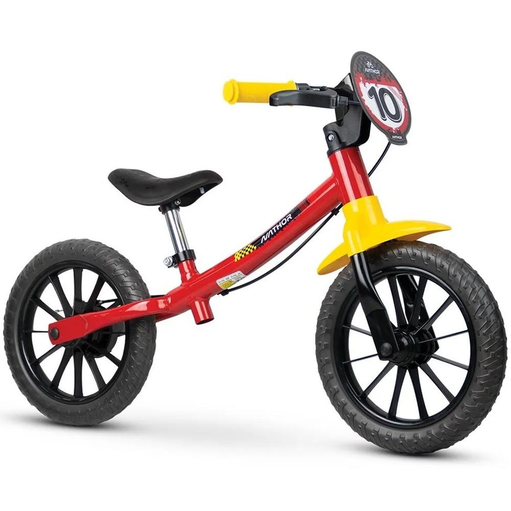 Bicicleta Infantil Aro 12 Sem Pedal Balance Bike Fast Nathor Vermelho