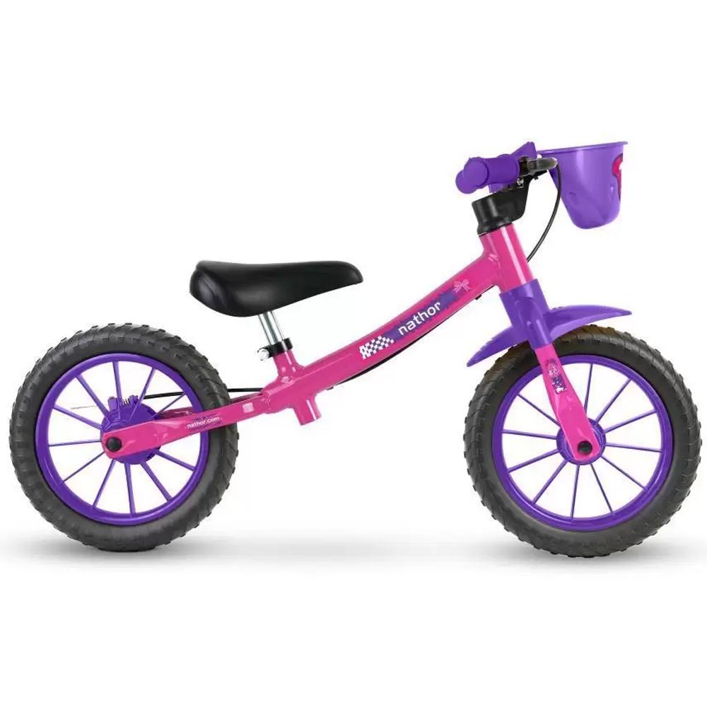 Bicicleta Infantil Aro 12 Sem Pedal Nathor Balance Lilas/Pink