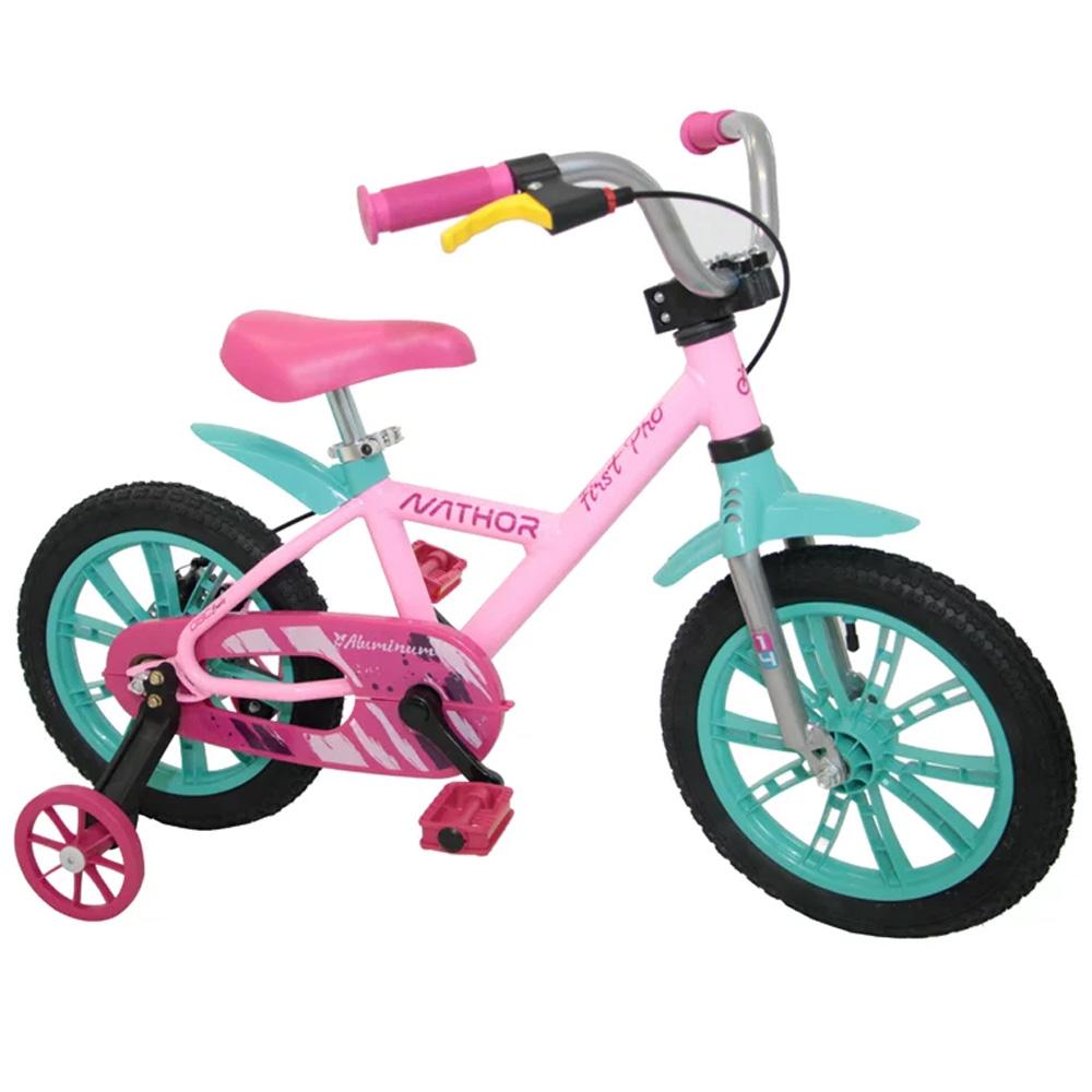 Bicicleta Infantil Aro 14 Nathor First Pro Rosa e Verde