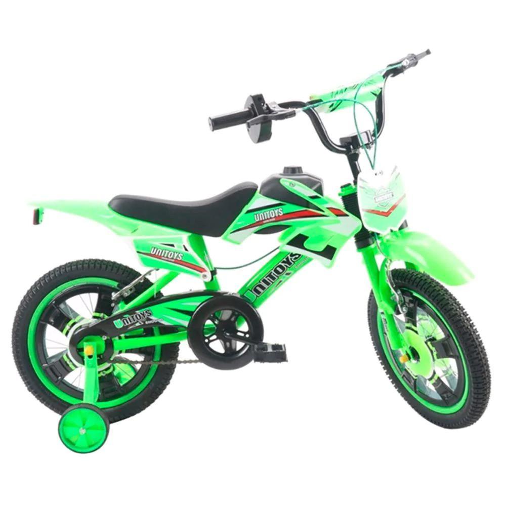 Bicicleta Infantil Aro 16 Moto Cross Unitoys Monovelocidade Verde