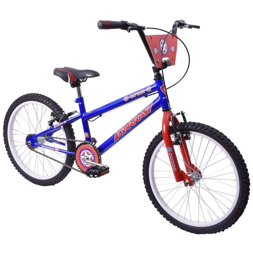 Bicicleta Infantil Aro 20 Garra Captain Azul e Vermelha