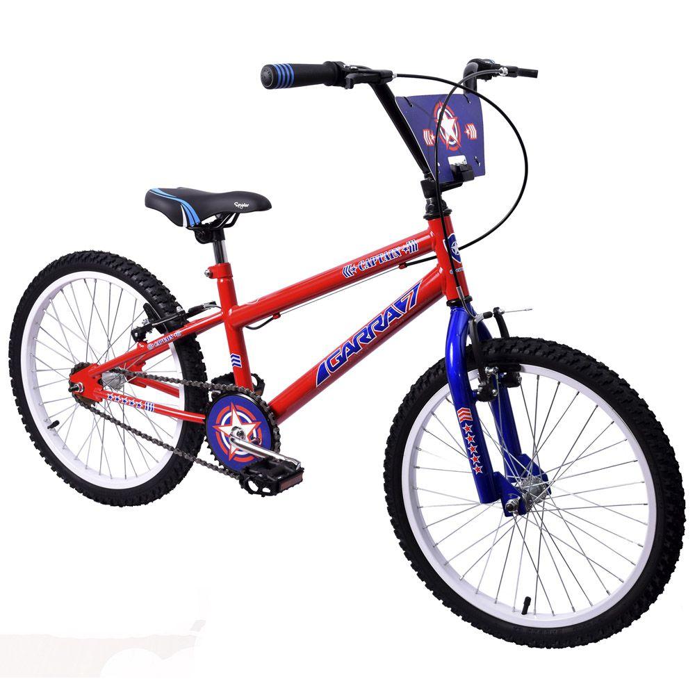 Bicicleta Infantil Aro 20 Garra Captain Vermelha e Azul