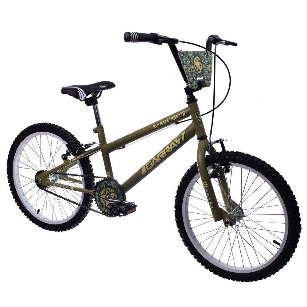 Bicicleta Infantil Aro 20 Garra Squad Verde Militar