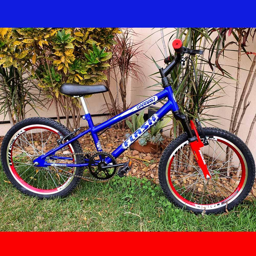 Bicicleta Infantil Aro 20 Infantil Garra Flash Azul C/Suspensão