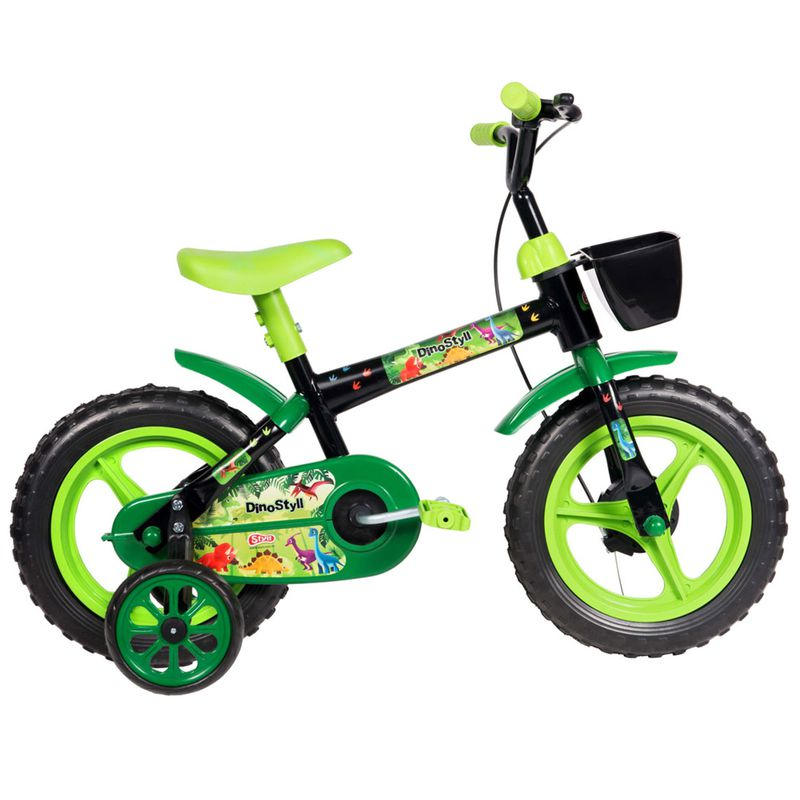 Bicicleta Infantil Styll Dino Aro 12 Preto e Verde