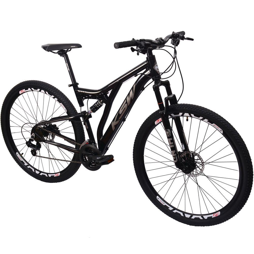 Bicicleta KSW 29 Full Suspensão Freio Hidráulico Preto Prata