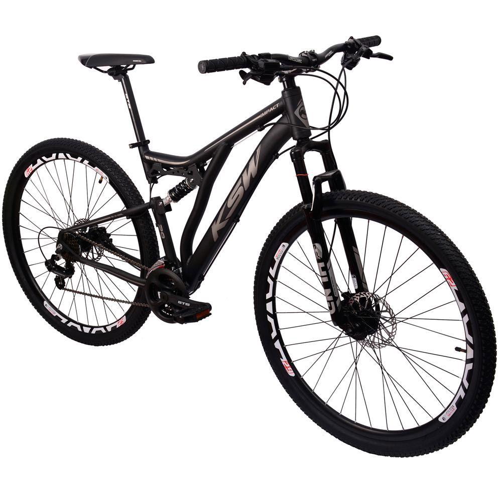 Bicicleta KSW 29 Full Suspensão Hidráulico Preto Fosco e Prata