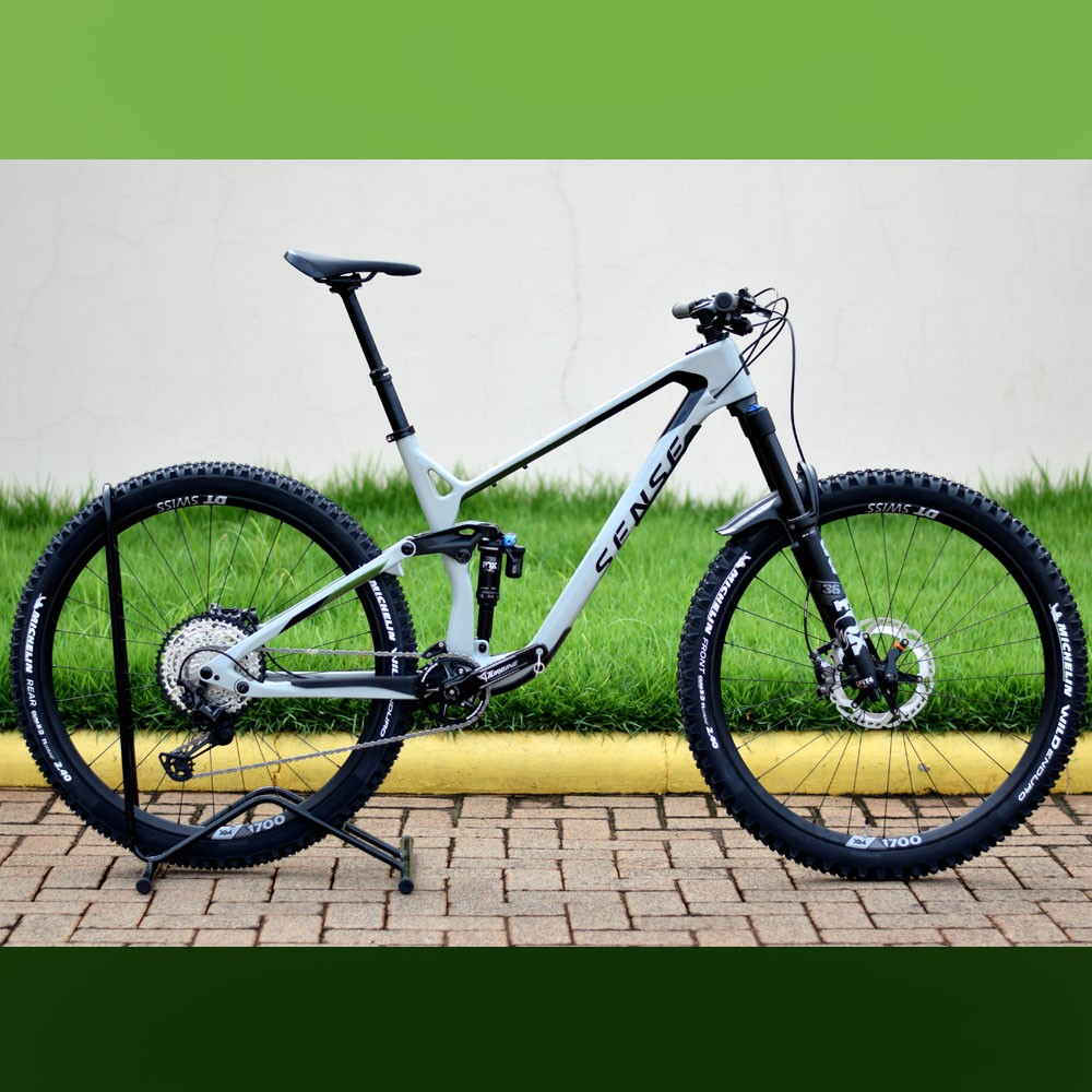 Bicicleta Sense Exalt LT Evo 2021/22 Cinza e Verde Tamanho L