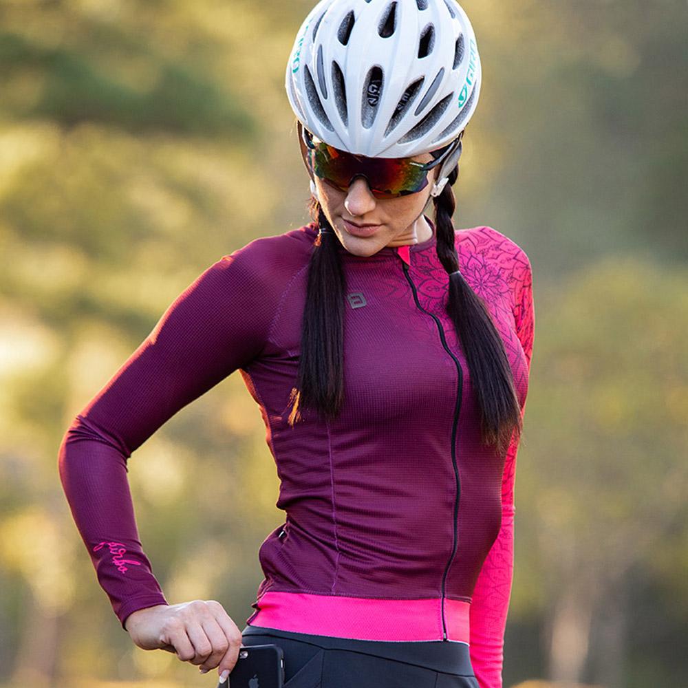 Camisa Ciclismo Feminina Furbo Manga Longa Donna Ragazza Chakra