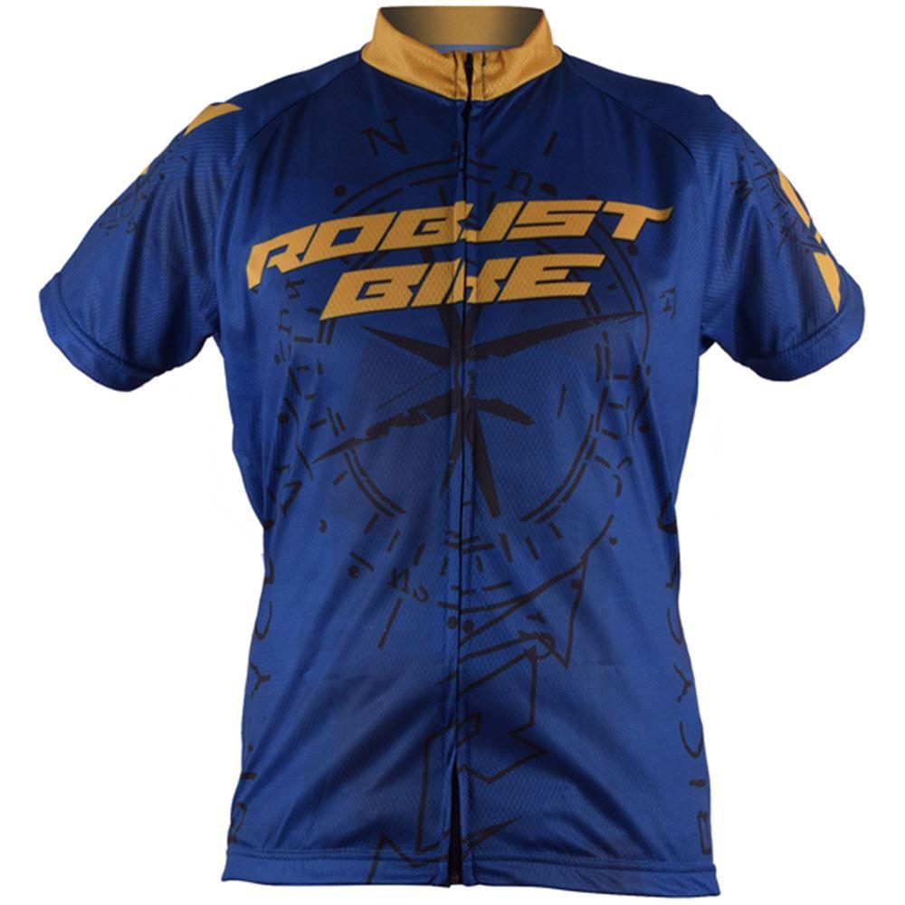 Camisa Ciclismo Robust Bike Tamanho M Azul/Amarelo