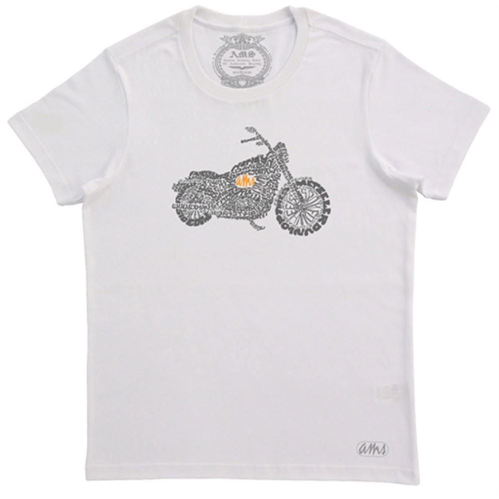 Camiseta Masculina AMS Motorcycle Branca Tamanho M