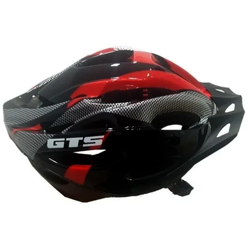 Capacete Bike GTS Com Sinalizador Ciclismo Vermelho/Preto Tamanho G