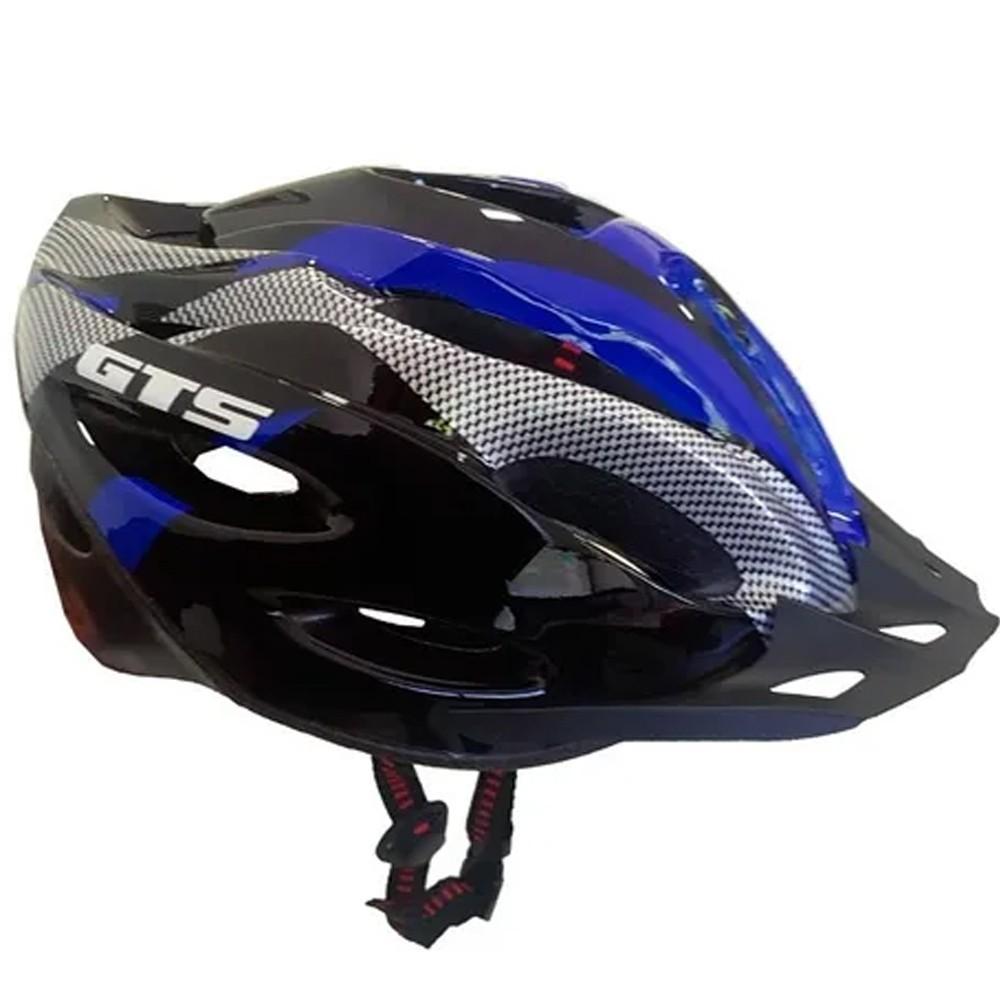 Capacete Bike GTS Com Sinalizador De Led Ciclismo Azul Tamanho G