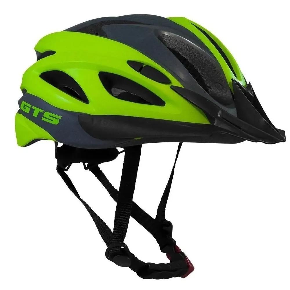 Capacete Ciclismo GTS Vista Light Grafite e Verde Tam M