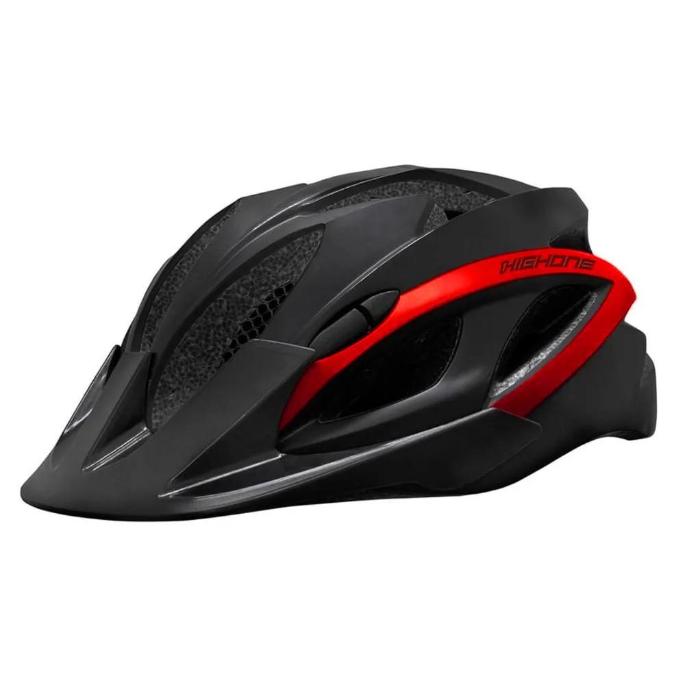 Capacete de Bike MTB Win HighOne LED Preto e Vermelho M