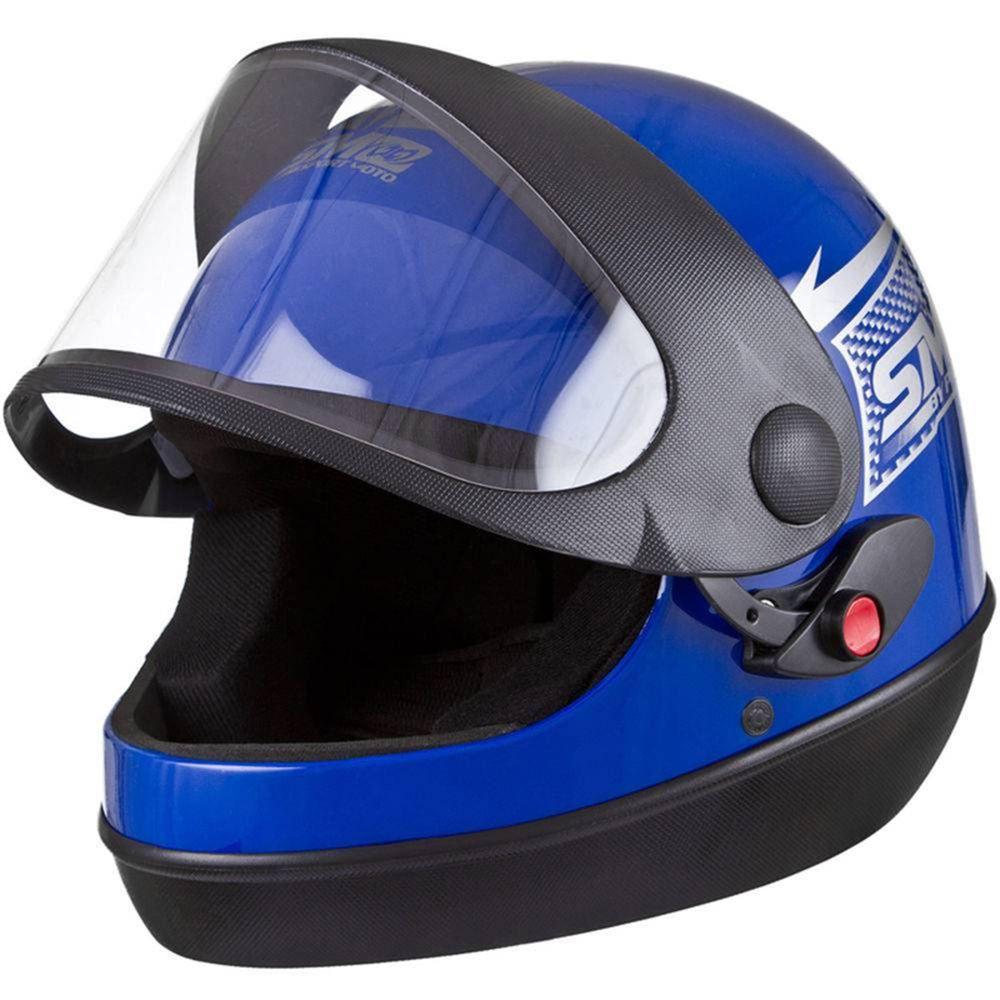 Capacete Moto Azul San Marino Automático Tamanho 56