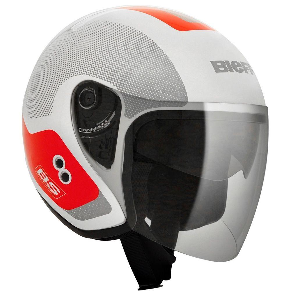 Capacete Moto Bieffe Allegro Doccia Tam 56 Branco e Vermelho