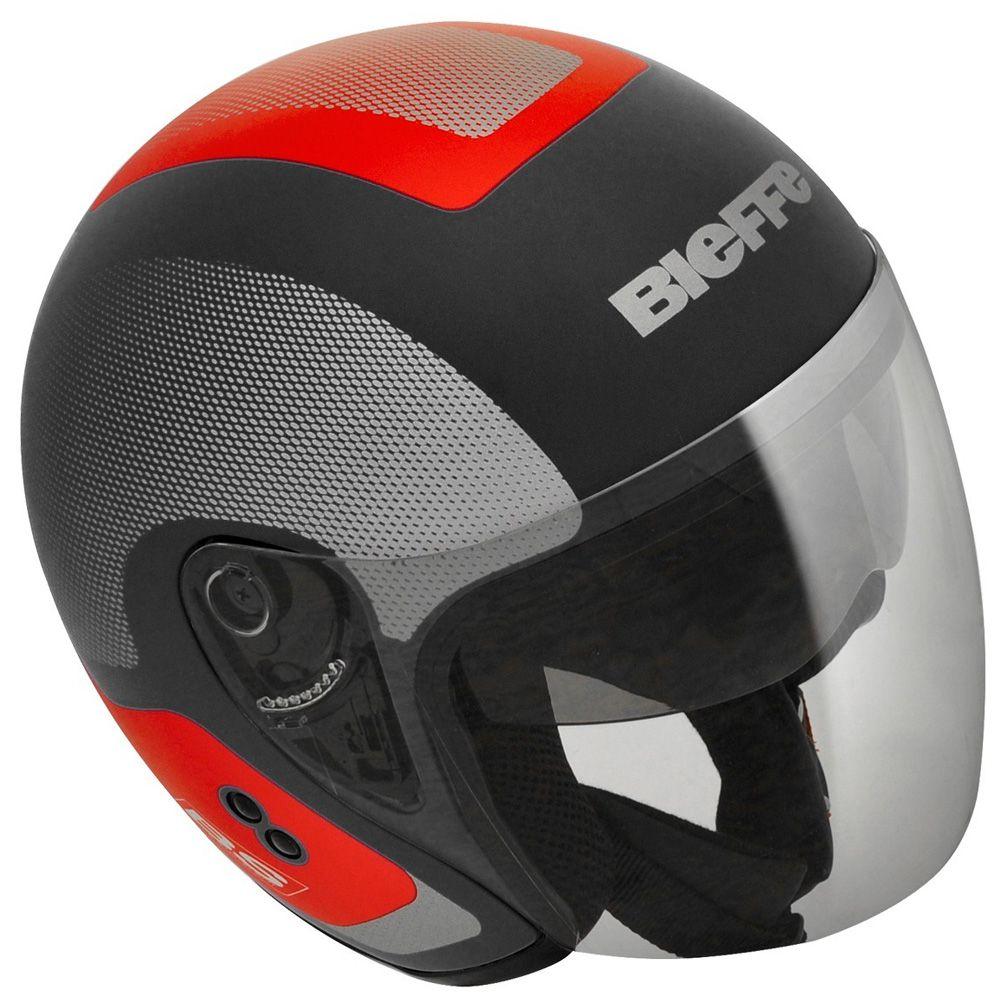 Capacete Moto Bieffe Allegro Doccia Tamanho 58 Preto e Vermelho