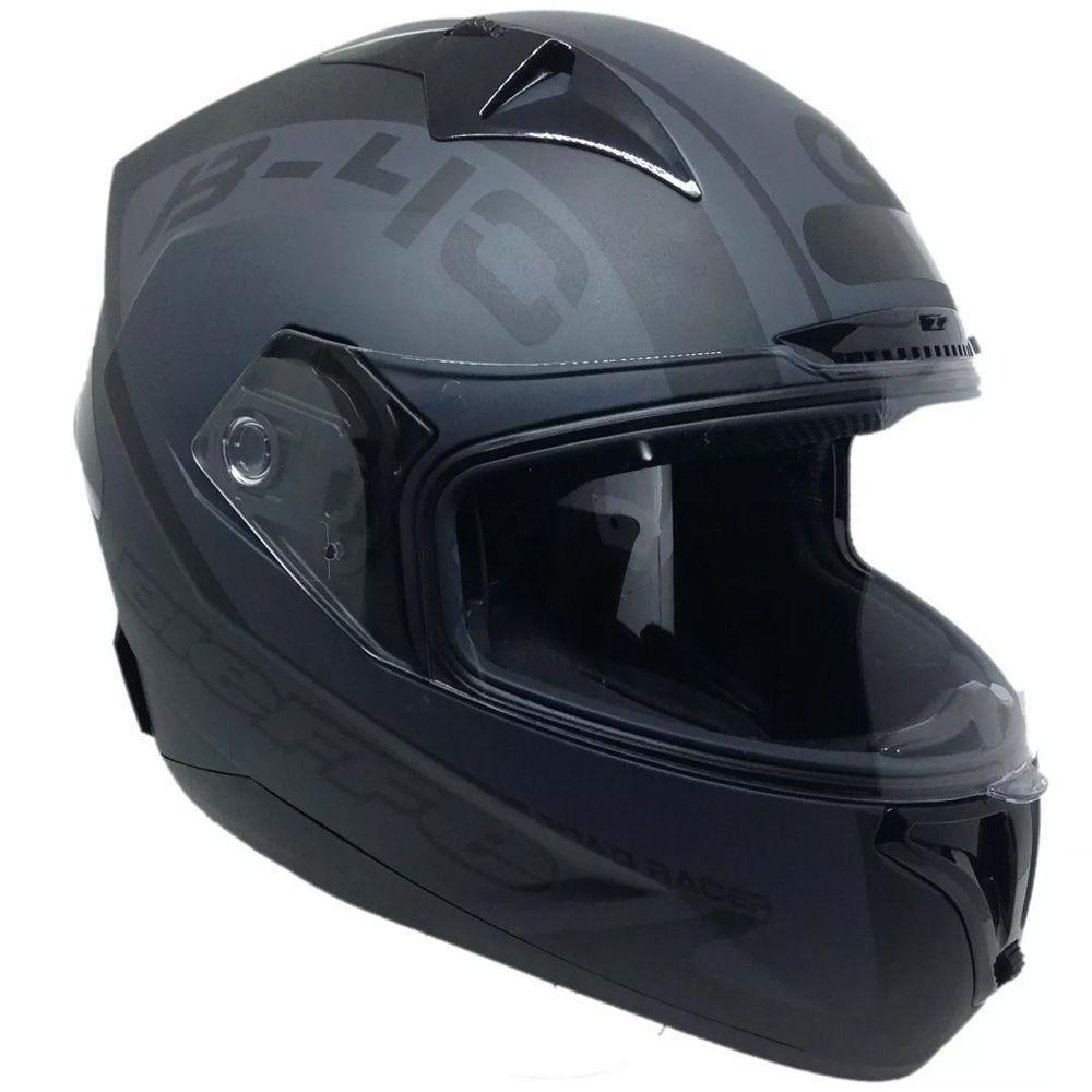 Capacete Moto Bieffe B40 Road Racer Tam 61 Preto Chumbo Fosco