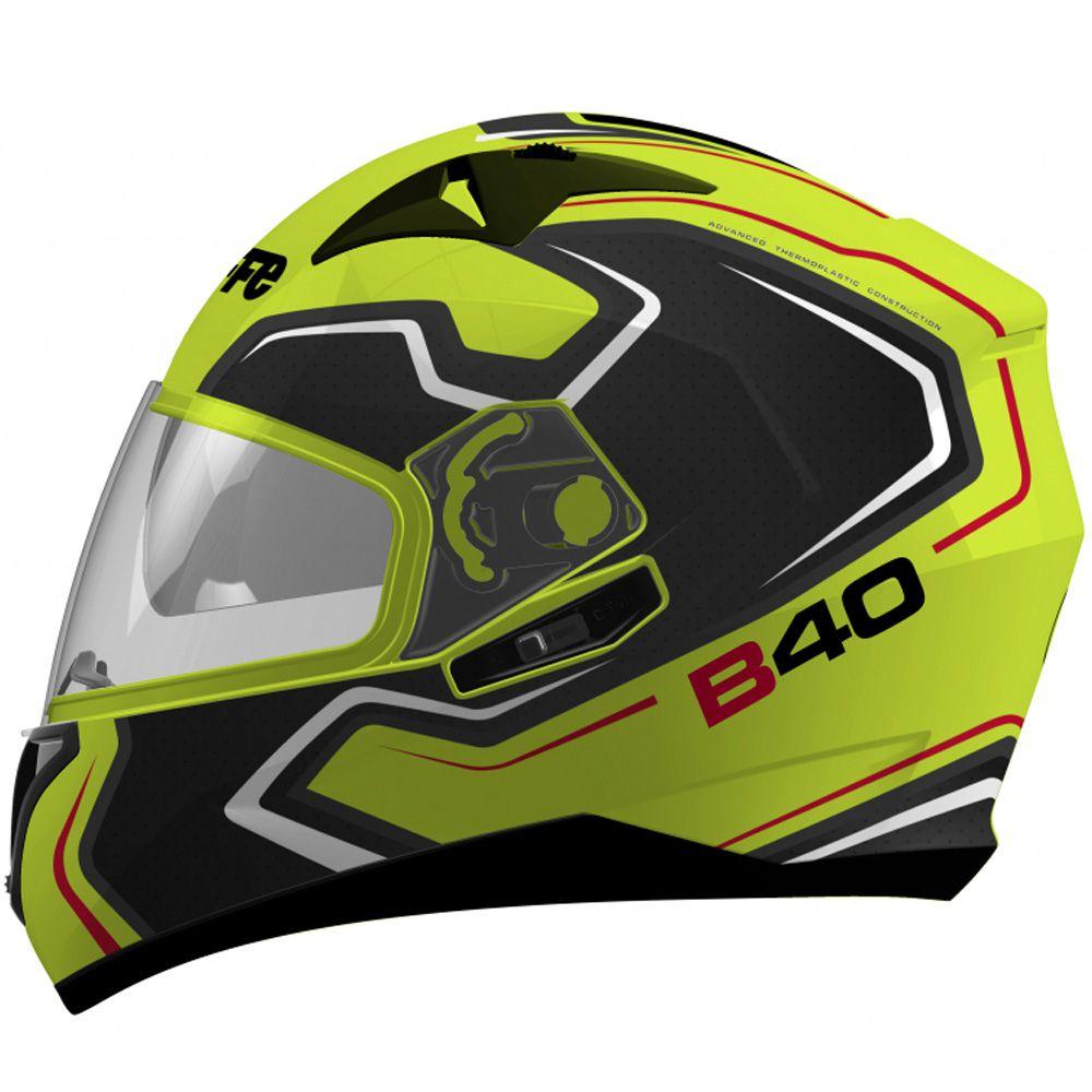 Capacete Moto Bieffe B-40 Tron Tam 58 Amarelo Limão e Cinza