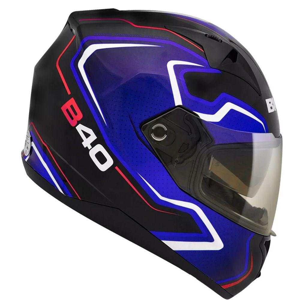 Capacete Moto Bieffe B-40 Tron Tam 60 Preto e Azul