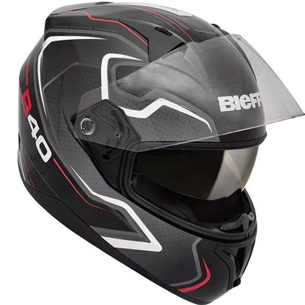 Capacete Moto Bieffe B-40 Tron Tam 60 Preto Fosco e Cinza