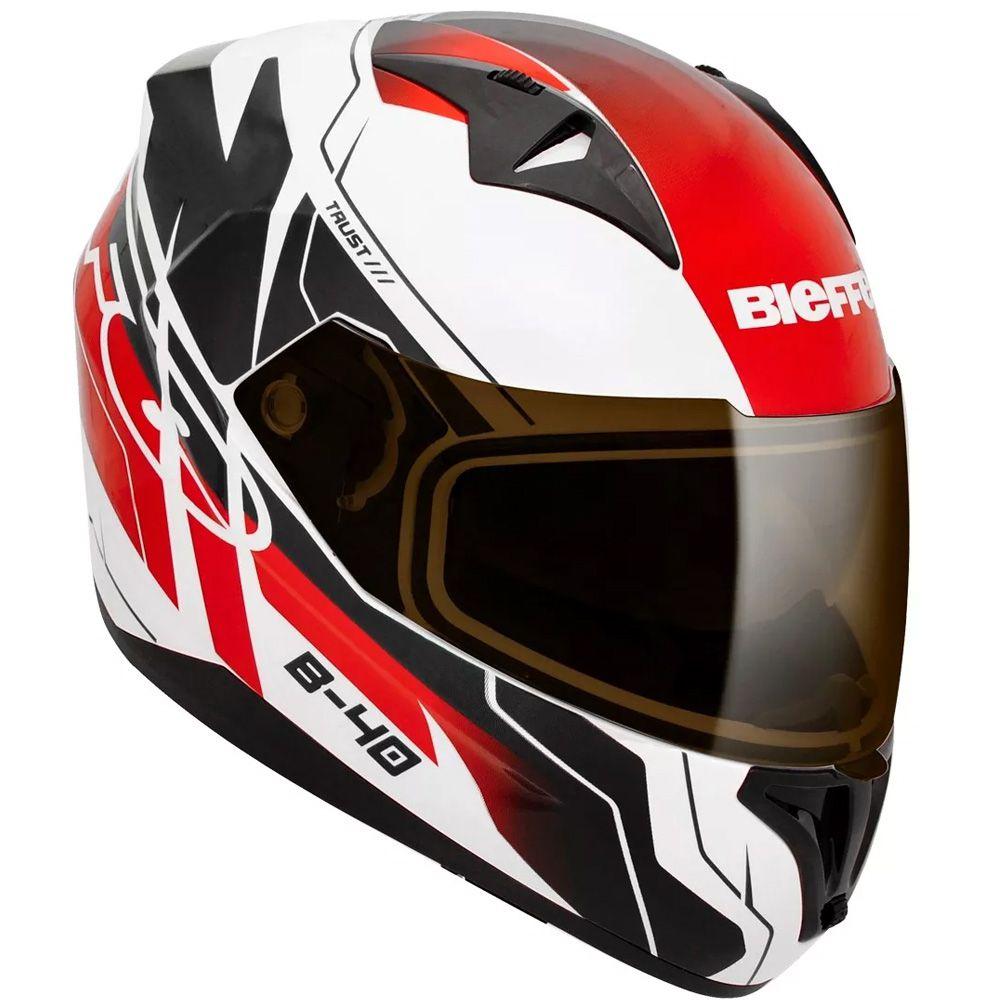 Capacete Moto Bieffe B-40 Trust Tam 60 Branco e Vermelho