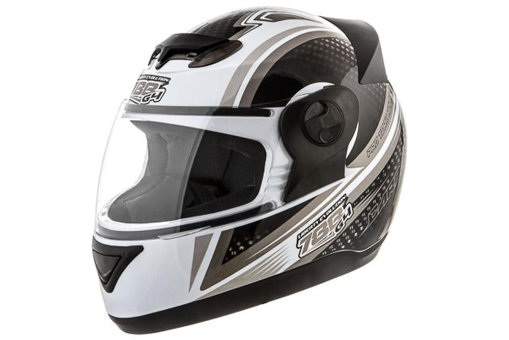 Capacete Moto Pro Tork Carbon Branco e Cinza Tamanho 60