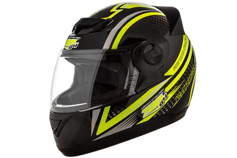 Capacete Moto Pro Tork Carbon Preto e Amarelo Tamanho 60