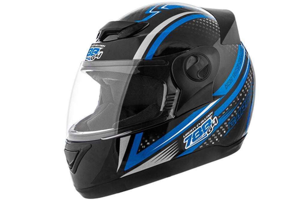 Capacete Moto Pro Tork Carbon Preto e Azul Tamanho 60