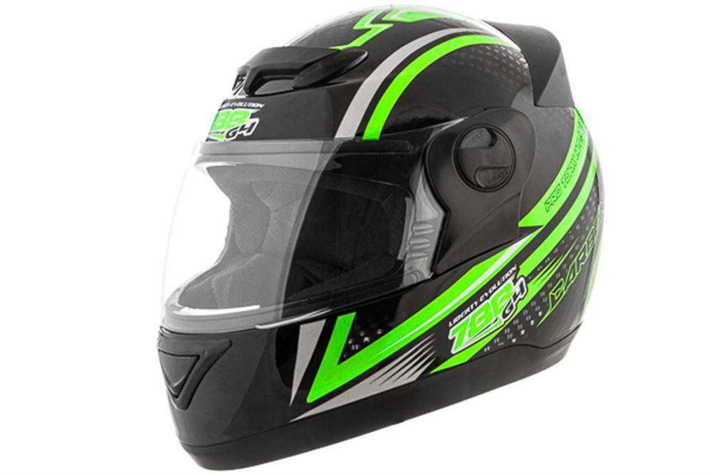 Capacete Moto Pro Tork Carbon Preto e Verde Tamanho 58