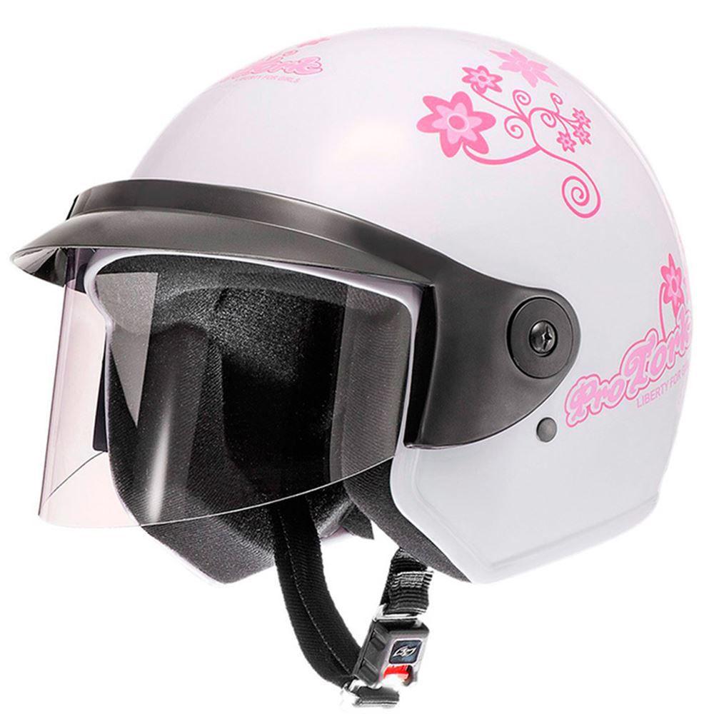 Capacete Moto Pro Tork Liberty Three Floral Tamanho 56 Branco