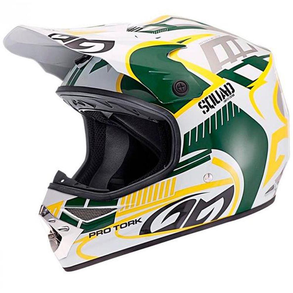 Capacete Moto Pro Tork Squad Tamanho 60 Branco/Verde