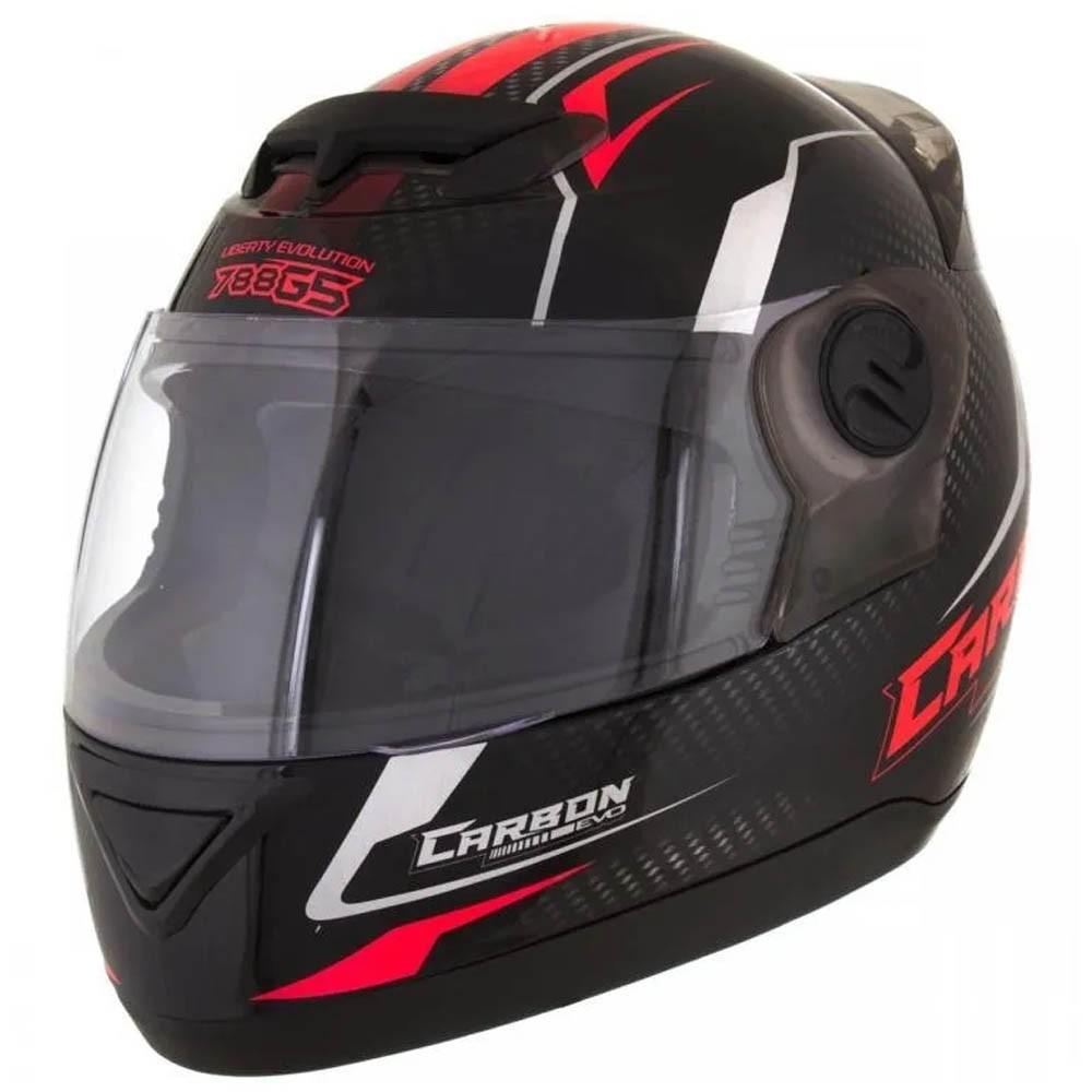 Capacete Moto Tork Evolution G5 Carbon Evo Preto e Vermelho 58