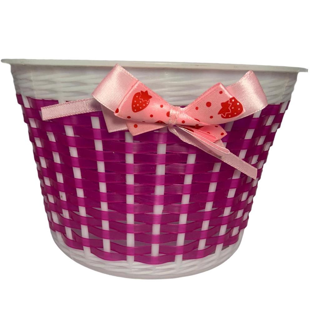 Cesta Bicicleta Infantil Plástica 12/16 Rosa com lacinho