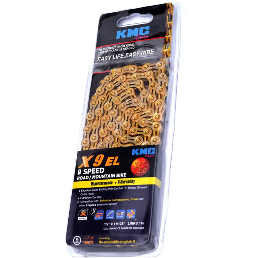 Corrente KMC X9 EL Dourada 116L  9 Velocidades MTB e Speed