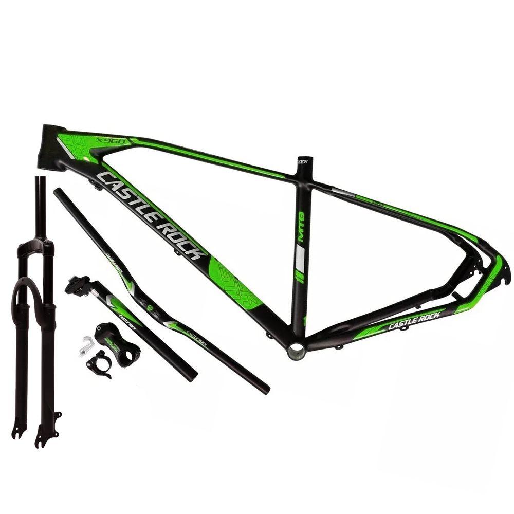 Kit Quadro Bike 29 Castle Rock Preto e Verde Tam. 19