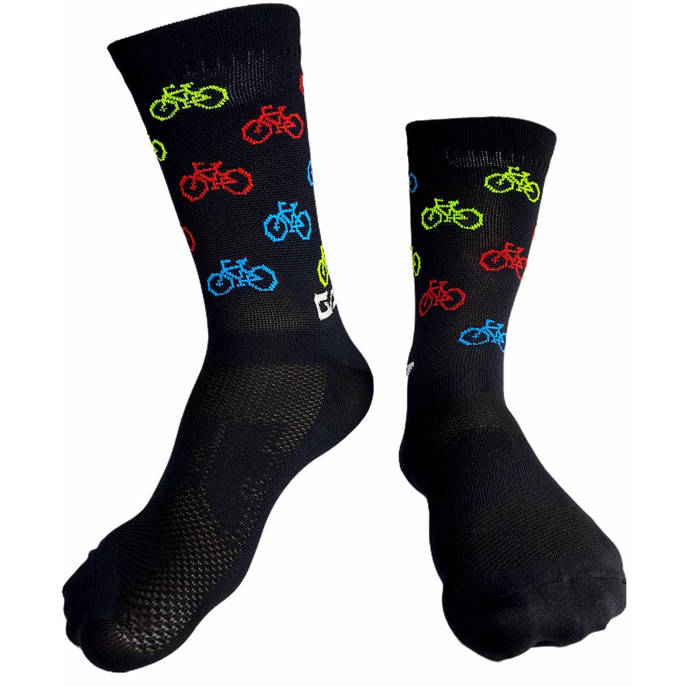 Meia Ciclismo Compressão Unissex Garra7 Preto Bicicletinhas 35-39 BR