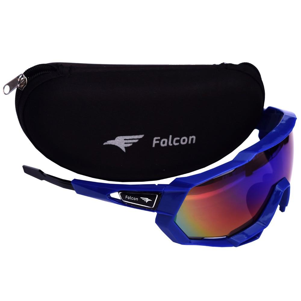 Óculos Ciclismo Bike Falcon Elite Lente Espelhada Azul